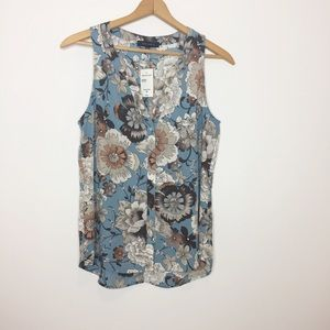 NWT Sanctuary Blue Floral sleeveless blouse brown